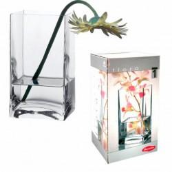 jarrón rectangular cristal