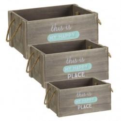 """Caja de madera """"happy"""" m"""