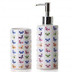 SET DE BAÑO DISPENSADOR Y VASO MARIPOSAS