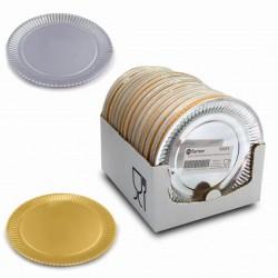 plato cartón oro plata