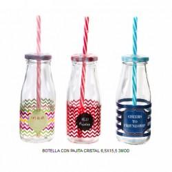 botella cristal pajita