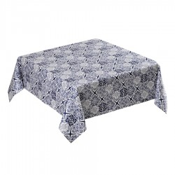 MANTEL 145X145 AZUL ANTIMANCHAS