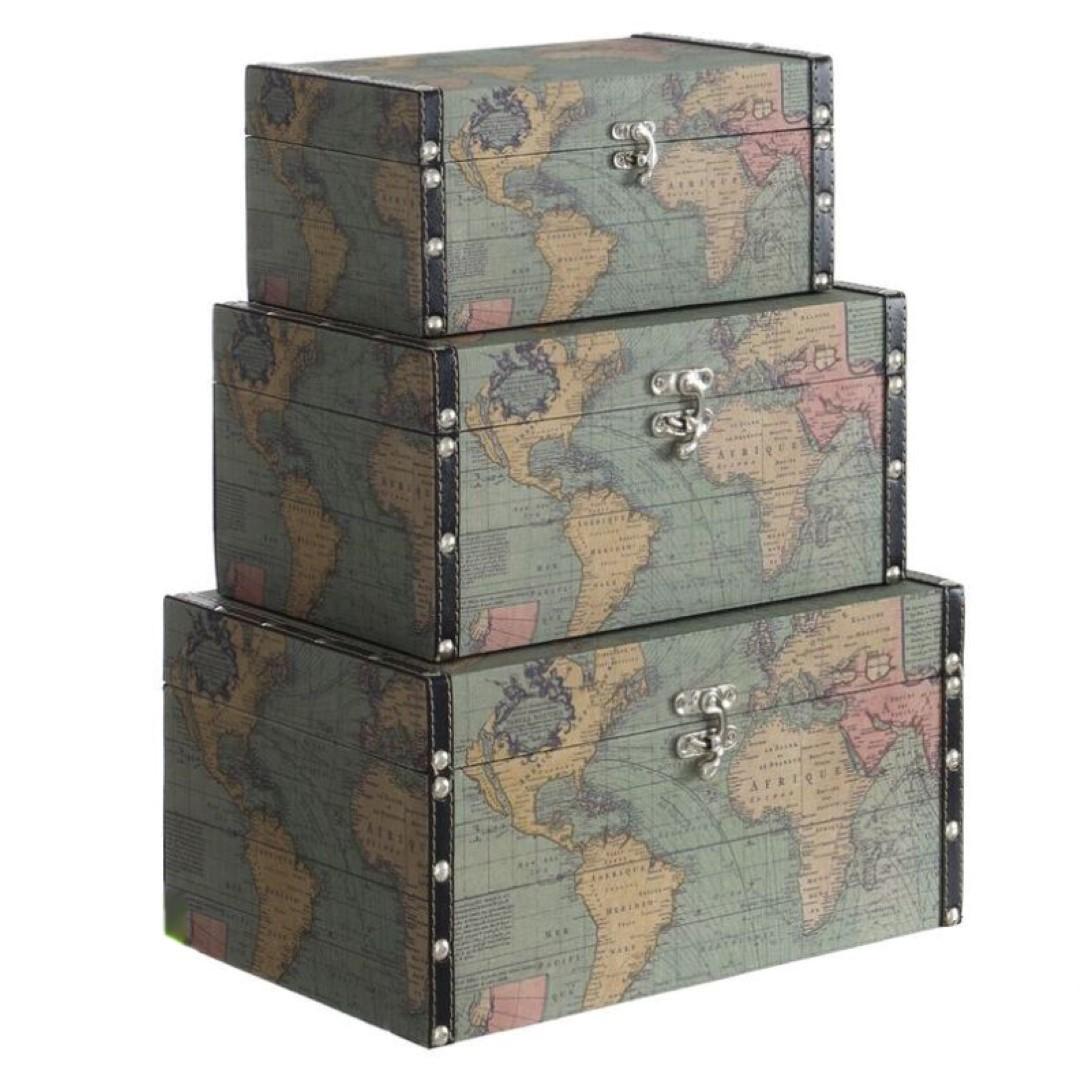 caja pequea mapamundi - Cajas De Madera Decoradas