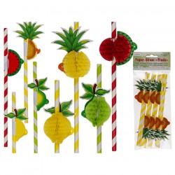 pajitas papel frutas