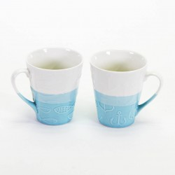 TAZA BLANCO AZUL 330ML