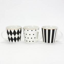 taza porcelana blanca y negra
