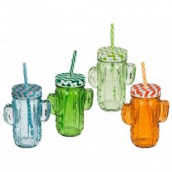 vaso con pajita cactus