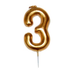 vela cumpleaños dorada 3