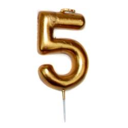 vela cumpleaños dorada 5