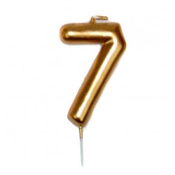 vela cumpleaños dorada 7
