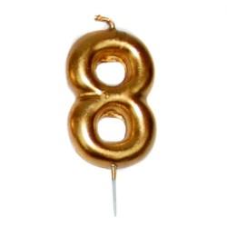 vela cumpleaños dorada 8