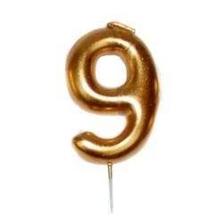 vela cumpleaños dorada 9