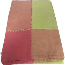Mantel Verde pistacho con franja en color rosa 150x150cm 100% Algodón
