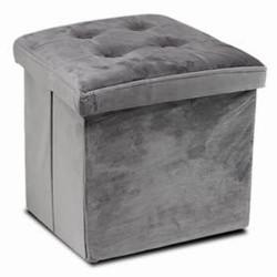 puff terciopelo gris