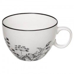 TAZA 45CL FLORAL NEGRO