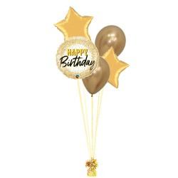 RAMO HAPPY BIRTHDAY DORADO + 2 ESTRELLAS +2 LATEX